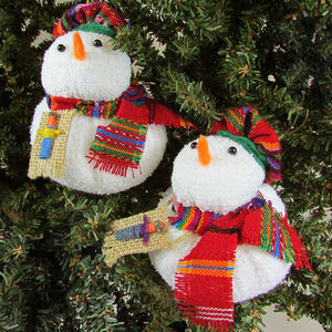 Guatemalan Snowman Ornament - Many Hearts One Beat