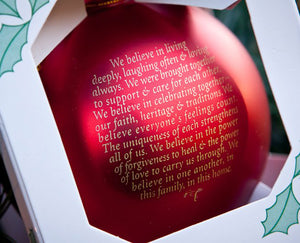 Our Family Blessing Ornament - Many Hearts One Beat