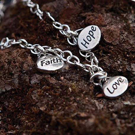 Faith, Hope and Love Bracelet - Many Hearts One Beat