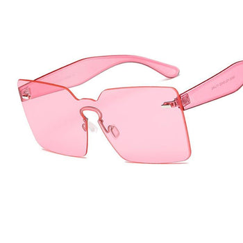 Fashion Female Green Pink Rimless Sunglasses