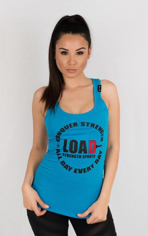 "Weightlifting and Powerlifting Clothing | ""LOAD"" Racerback Tank - Load Strength Sports"