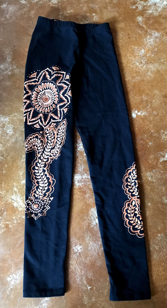 Mehndi Sunflower and Vine Leggings