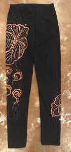Leggings with Bold Japanese Leaf Pattern