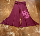 Dusty Rose Bamboo Cotton Pants with Vines and Roses