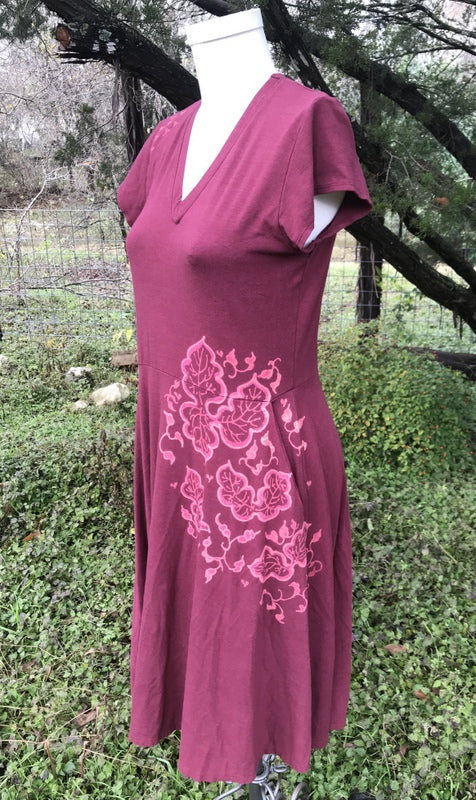 Dusty Rose with Leaves Pattern Dress