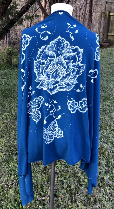 Blue Japanese Lotus and Leaves Wrap