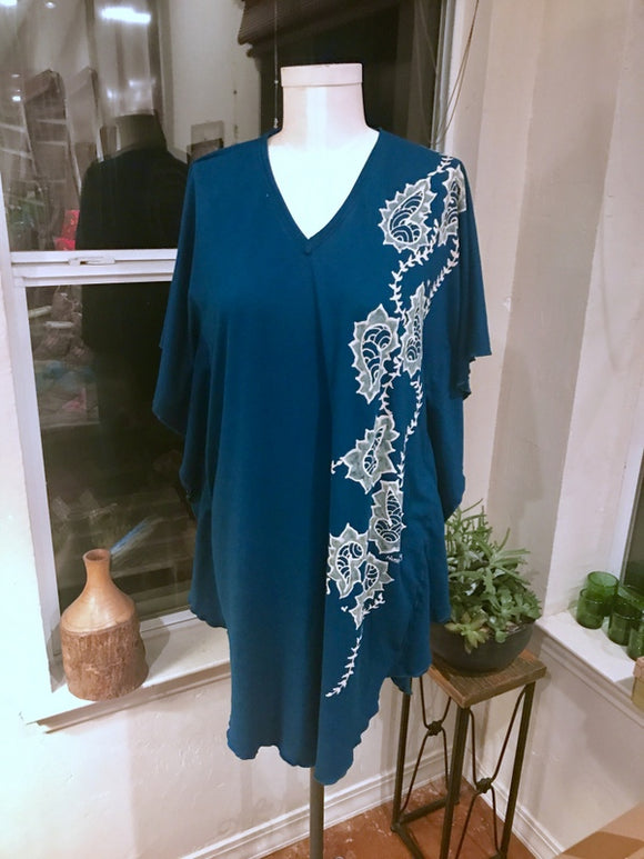 Medium/Large Blue Mehndi Kaftan Dress