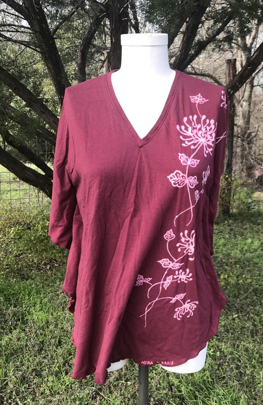Small/Medium Dusty Rose Chrysanthemum Kaftan Top