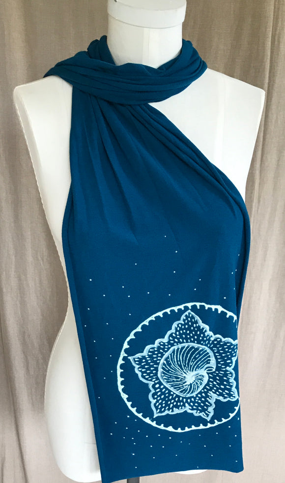 Blue Moroccan shell scarf