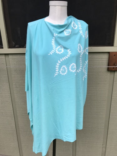 Sky Blue Paisley and Vines Poncho