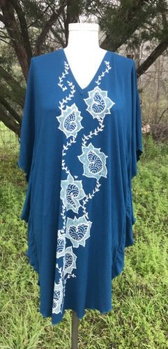 Blue Paisley and Vines Kaftan Dress