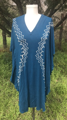 Blue Spiral Kaftan Dress