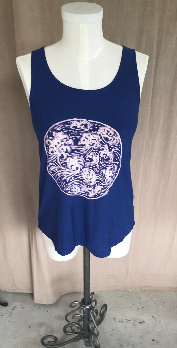 Blue Japanese waves tank top