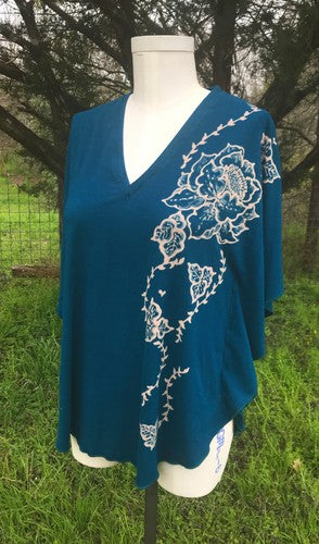 Blue Flowers Kaftan Top