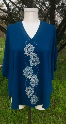 Blue Paisley Kaftan Top