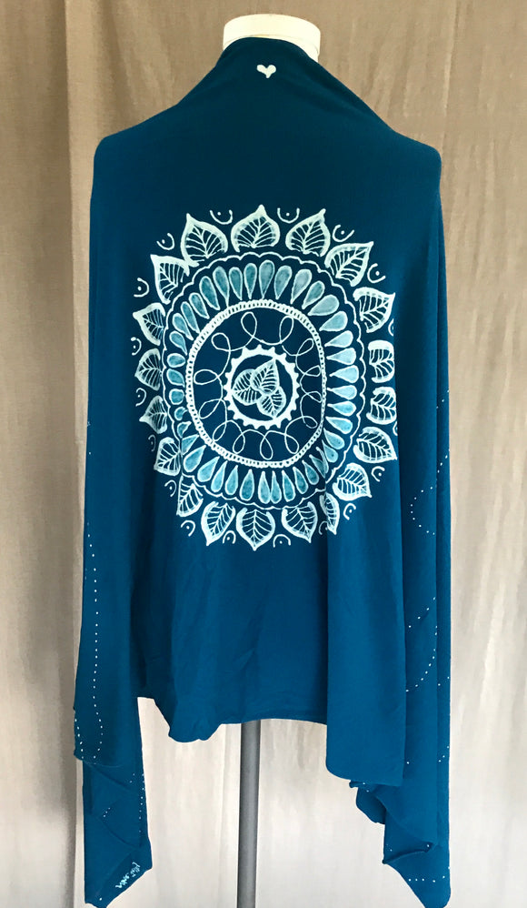 Blue Japanese Leaf Mandala Wrap