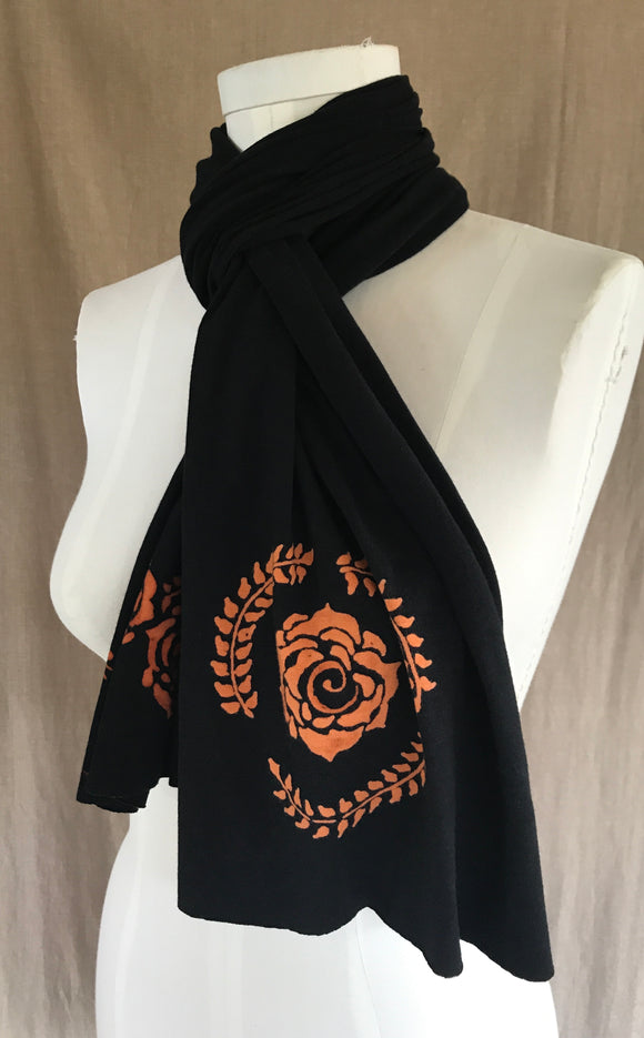 Rose Border Black Scarf