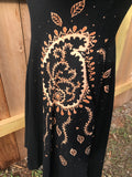 Black Dress with Mehndi Paisley
