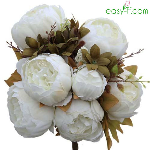 Shop silk flowers at easy ff artificial flowers 1pcs peony silk flower bouquet 13 heads real touch in 10 colors mightylinksfo