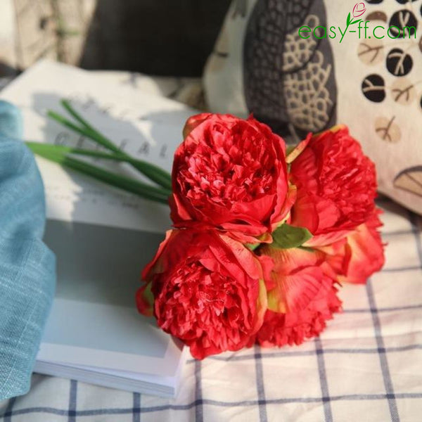5pcs Peony Silk Flower Stem For Home Decor In 7 Colors - Which-artificial-flower-colors-are-good-for-a-home
