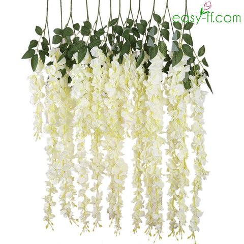 Fake flower stems artificial stems easy ff 6pcs wisteria silk flower stem real touch for weeding in 4 colors mightylinksfo