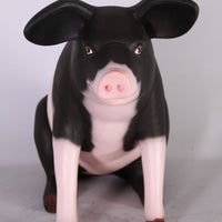 Baby Sitting Black And Pink Pig Life Size Statue
