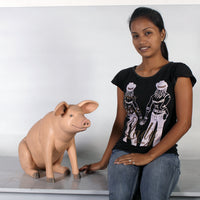 Pig Sitting Baby  Farm Prop Life Size Decor Resin Statue