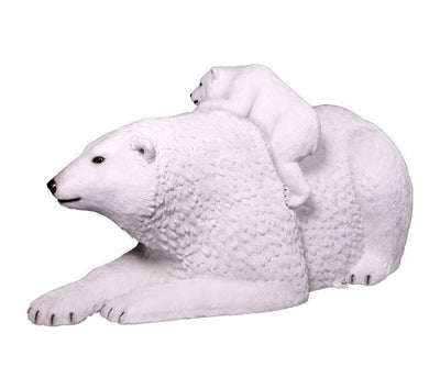 Bear Polar Laying With Cub Animal Prop Life Size Decor Resin Statue - LM Prop Rentals