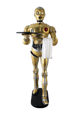 Robot Android Walking Butler Gold Life Size Statue