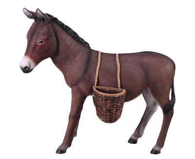 Donkey Mule Brown With Basket Decor Life Size Prop