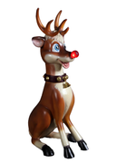 Sitting Funny Reindeer With Light Life Size Statue