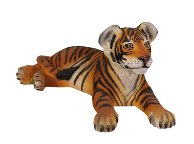 Laying Bengal Tiger Cub Life Size Statue