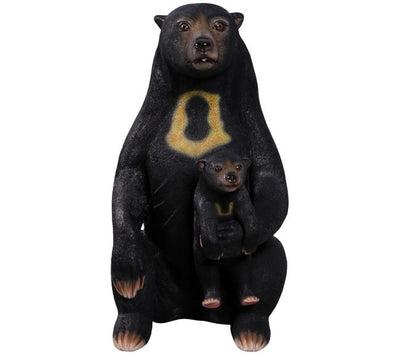 Bear Sun With Cub Sitting Animal Prop Life Size Decor Resin Statue - LM Prop Rentals