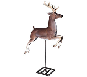 Reindeer On Base Life Size Resin Christmas Statue - LM Treasures Prop Rentals