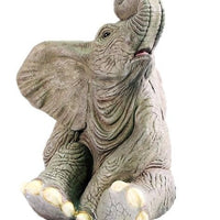Elephant Baby Sitting Fountain Jungle Animal Resin Statue