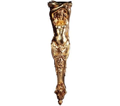 Column Stone Lady Pilaster Gold Greek Roman Prop Resin Decor - LM Prop Rentals