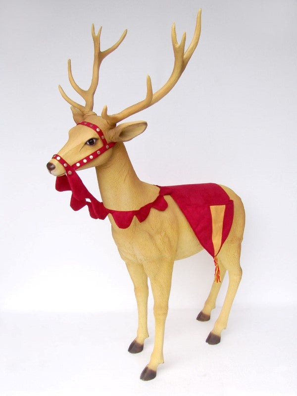Reindeer With Head Dress Life Size Statue