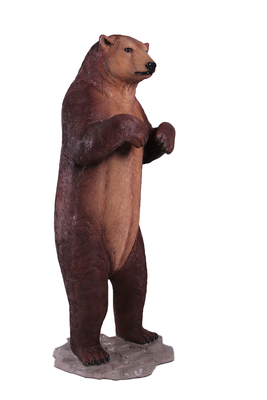 Brown Grizzly Bear Standing On Base Life Size Prop Resin Statue