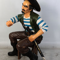 Pirates Sitting Playing Cards Set Life Size Statue