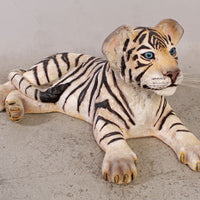 Laying Siberian Tiger Cub Life Size Statue