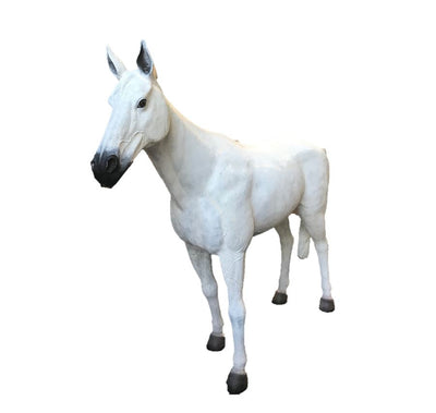 Horse Standing White Statue Display Prop Farm Animal - LM Treasures Prop Rentals