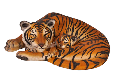 Bengal Tiger With Cub Life Size Statue