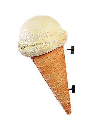 Hanging One Scoop Vanilla Ice Cream Cone Over Sized Statue