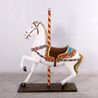 Majestic White Horse Carousel Life Size Statue