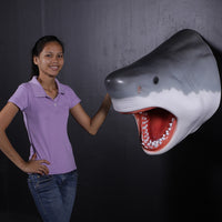 Large Great White Shark Head Life Size Statue Prop
