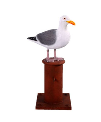 Bird Seagull On Post Animal Prop Life Size Resin Statue - LM Prop Rentals