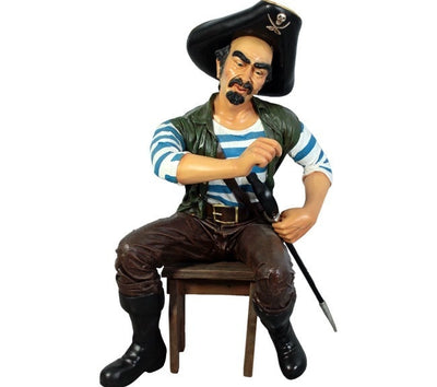Pirate -Pedro Hat Life Size Statue - stool rental sep. - LM Treasures Prop Rentals