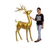 Gold Reindeer Standing Life Size Statue