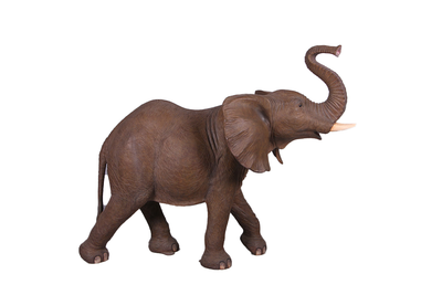 Standing Brown Elephant Trunk Up Life Size Statue