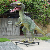 Green Raptor Dinosaur On Base Life Size Statue
